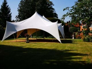 28ft 28ft 80 guests marquee Oxford Tent Company
